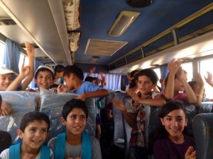 Students on the bus to Catch up School